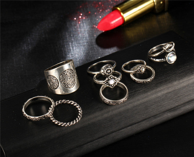 New 9 pcs/set Vintage Silver Color Ring Sets for Women Steampunk Knuckle Ring