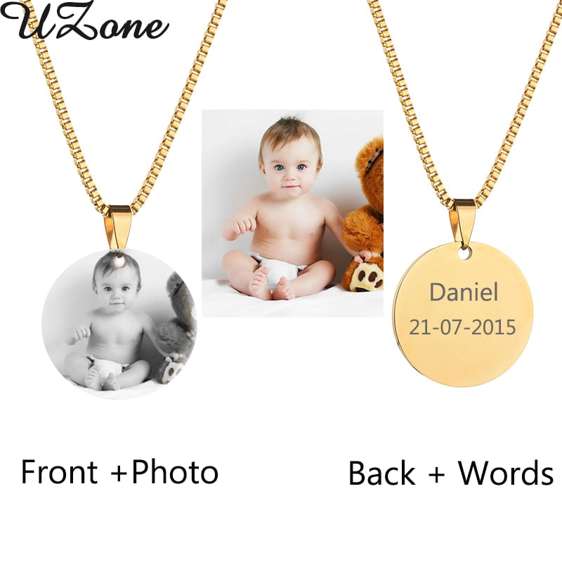 Custom Engraved Blank Necklace Personalized Photo & Name