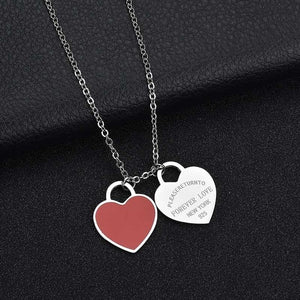 Engrave Name Necklace Double Side Heart Shaped