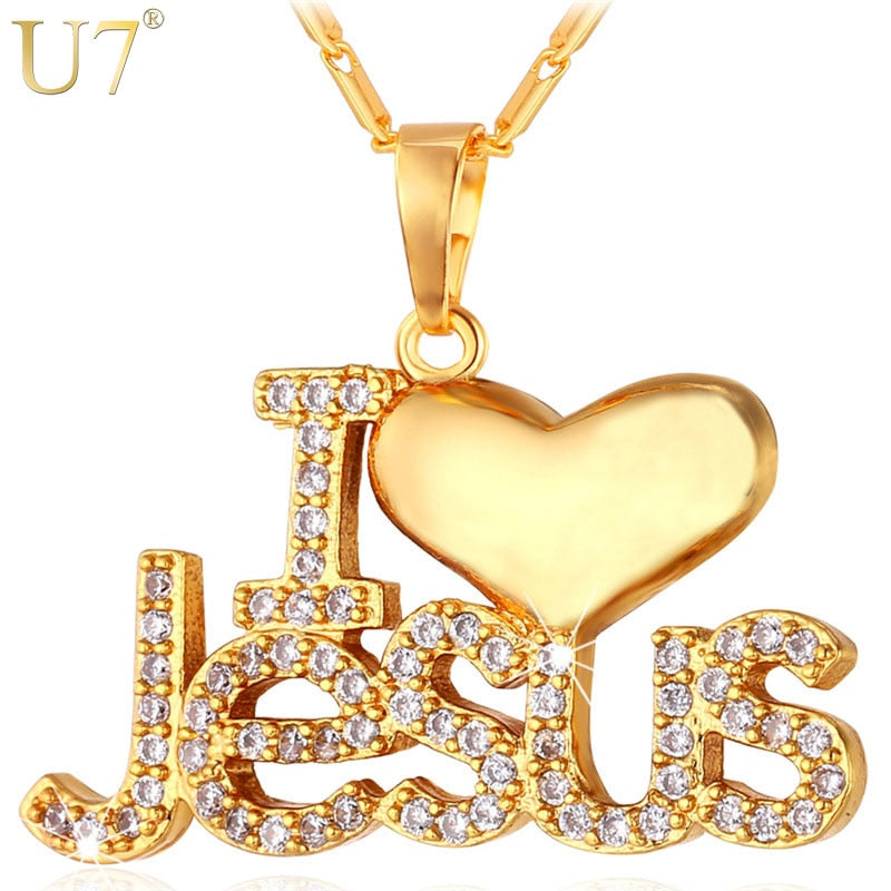 "Jesus Heart Pendant & Chain ""I Love Jesus"" Gift For Women/Men Silver/Gold Color Christian Jewelry Necklaces"