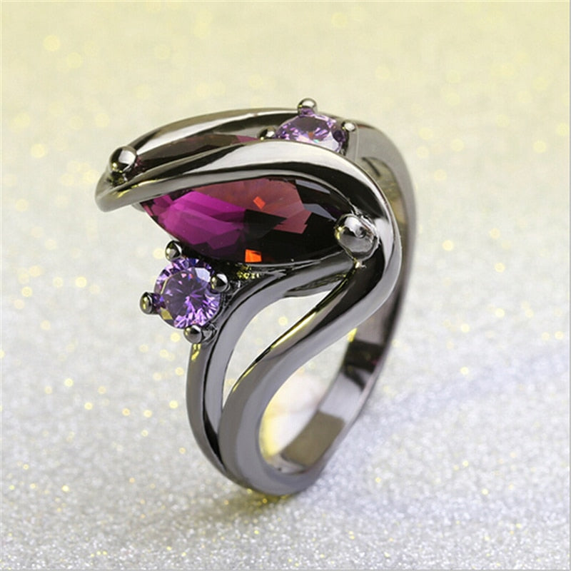 Luxury Vintage Purple Zircon Crystal l Rings