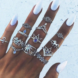 13pcs/Set Bohemia Antique Rings Sets RhineStone Knuckle Rings for Women Jewelry