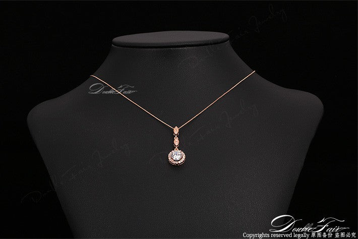 Vintage Cubic Zirconia Micro Pave Rose Gold/Silver Color Necklace