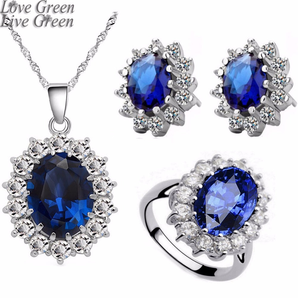 ocean blue  white gold austrian crystal rhinestones necklace/earrings/ring