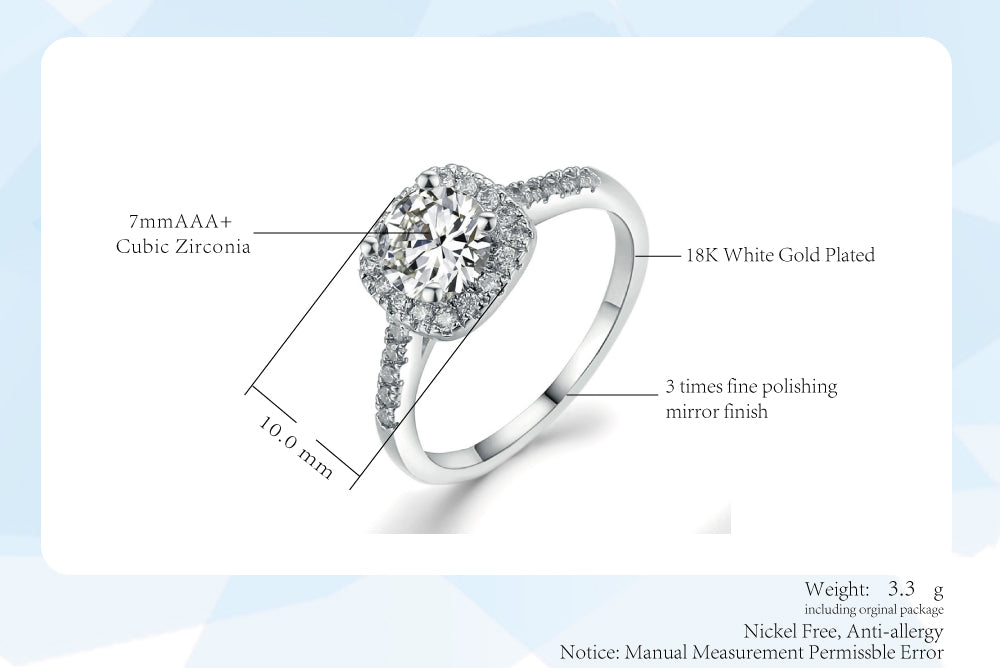 Silver Color Exquisite  Wedding & Engagement Ring Made With Cubic Zirconia