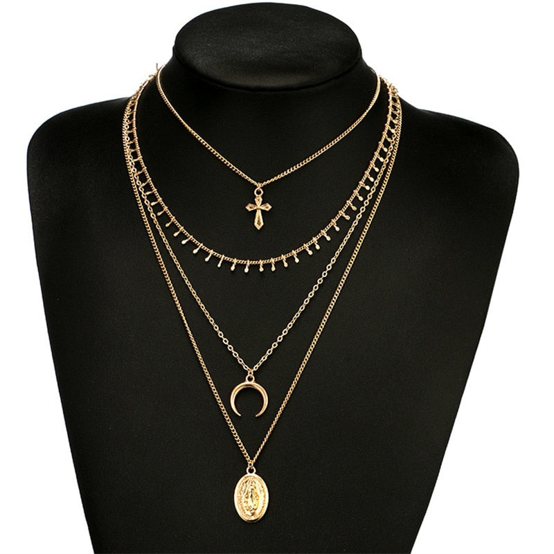 Multi layer Long Chain Necklace Gold color Moon Rose Pendant