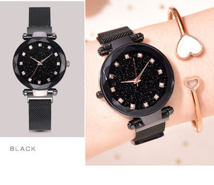 Luxury Wrist Watches For Women -Magnet Buckle Starry Diamond Geometric Surface