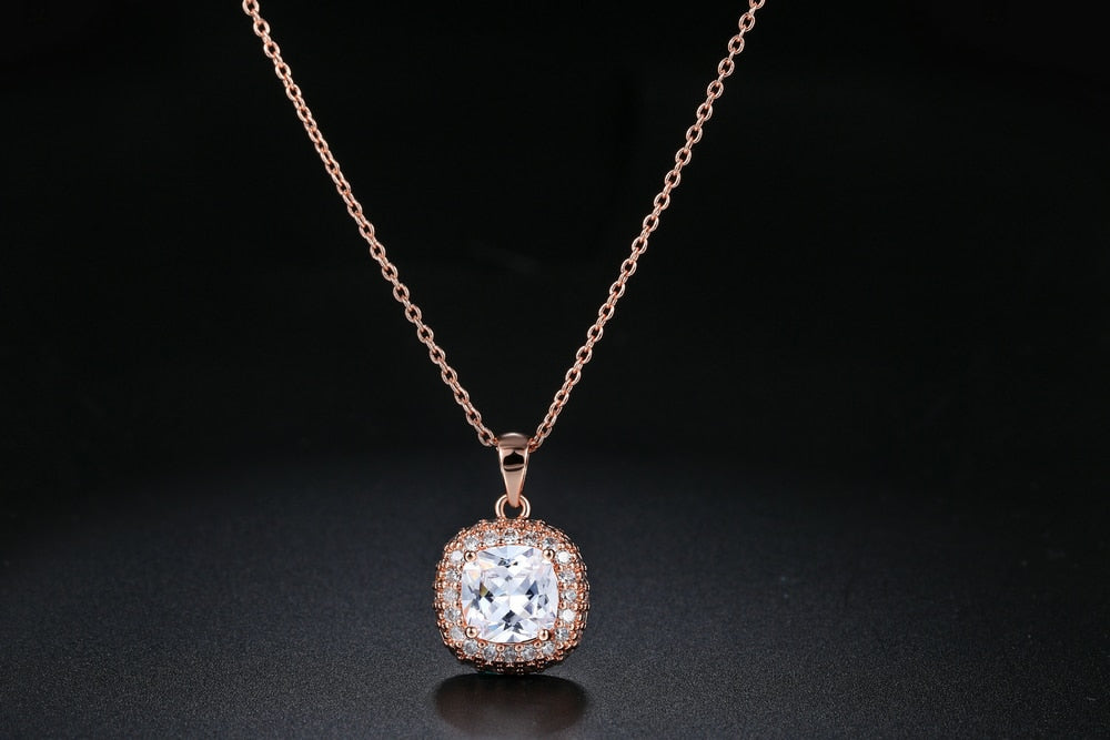 Top Quality Classic Crystal Rose Gold Color Pendant Necklaces
