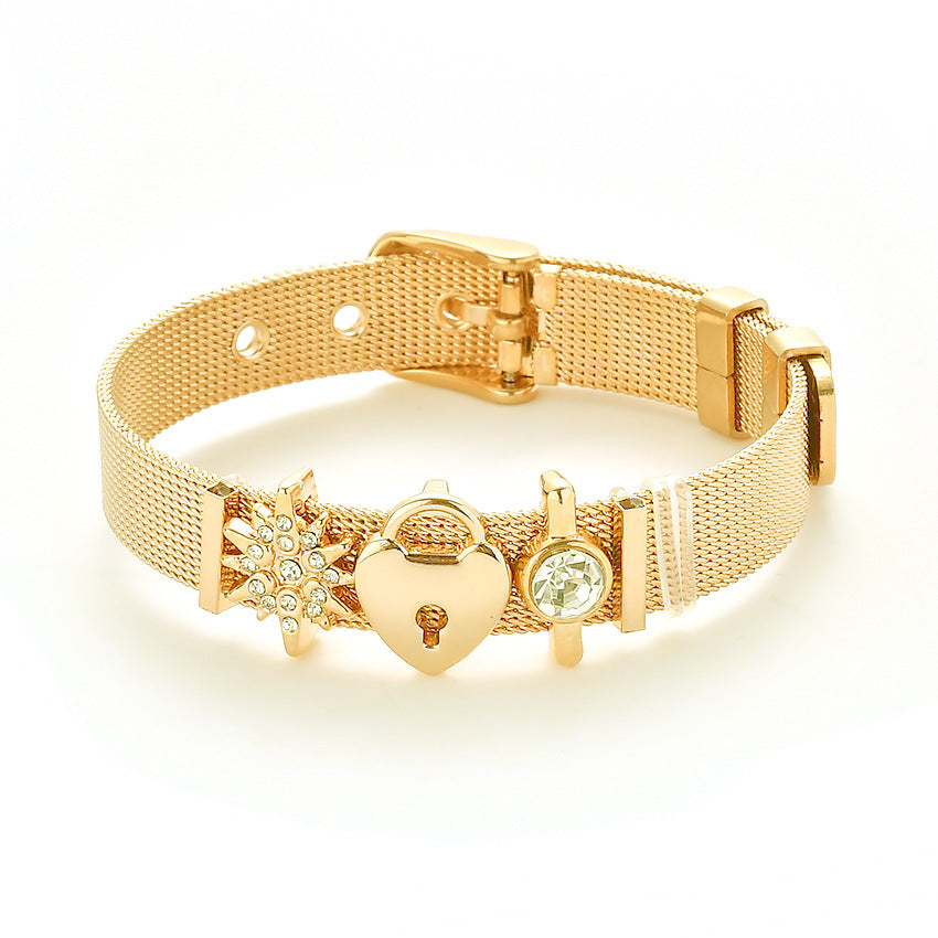 Rose Gold Stainless Steel Mesh Bracelet Love Lock Bracelet Gift