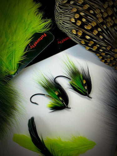 Sly green /black  opossum salmon fly