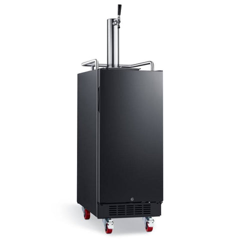 Image of 15 Inch Wide 1 Tap Kegerator with Forced Air Refrigeration and Air Cooled Beer Tower