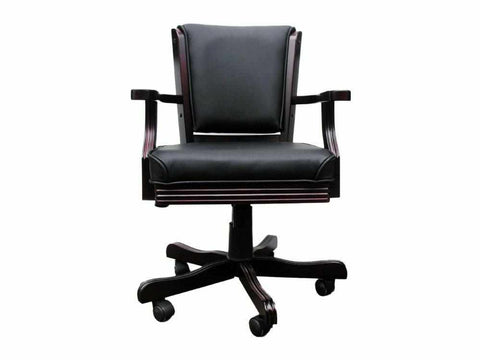 Image of Chair in Mahogany with Black Leather