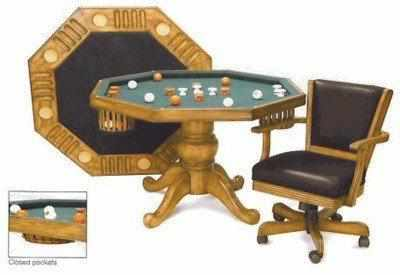 "Berner Billiards 3 in 1 - 54"" Octagon Poker/Bumper/Dining in Oak"