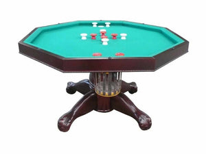 "Berner Billiards 3 in 1 Table - Octagon 48"" w/Bumper Pool with SLATE bed in Mahogany"