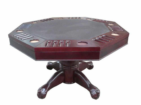 "Image of Berner Billiards 3 in 1 Table - Octagon 54"" w/Bumper Pool with SLATE bed in Mahogany"