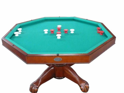 "Berner Billiards 3 in 1 Table - Octagon 48"" w/Bumper Pool with SLATE bed in Antique Walnut"