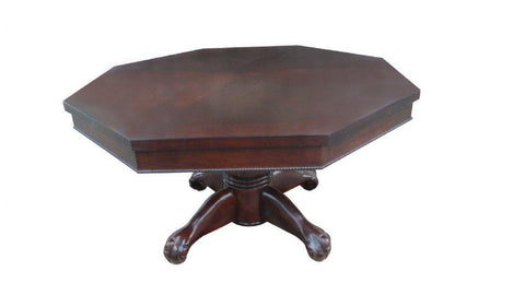 "Image of Berner Billiards 3 in 1 - 54"" Octagon Poker/Bumper/Dining in Mahogany in Dark Walnut with White Glove Delivery"