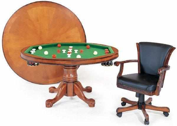 "Berner Billiards 3 in 1 – 54"" Round Poker/Bumper/Dining in Antique Walnut"