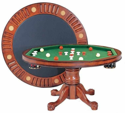 "Image of Berner Billiards 3 in 1 – 54"" Round Poker/Bumper/Dining in Antique Walnut"