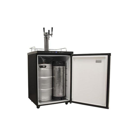 24 Inch Wide Triple Tap Kegerator with Digital Display for Full Size Kegs