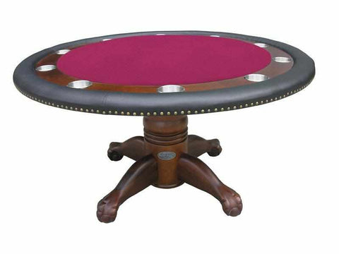 "Berner Billiards 60"" Round Poker Table w/ Optional Dining Top in Dark Walnut"