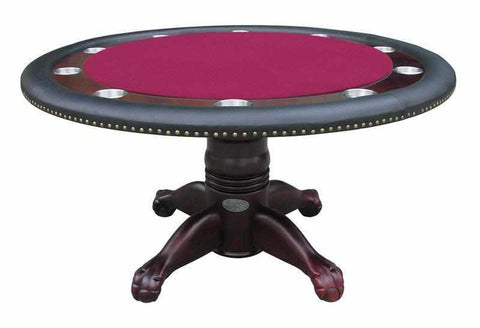 "Image of Berner Billiards 60"" Round Poker Table w/ Optional Dining Top in Mahogany"