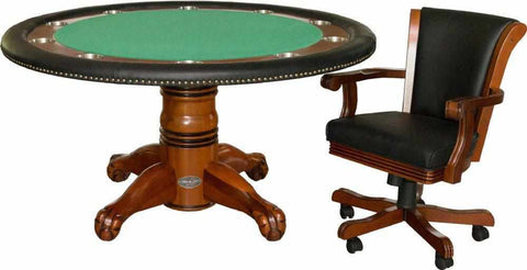 "Berner Billiards 60"" Round Poker Table w/ Optional Dining Top in Antique Walnut"