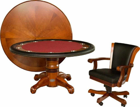 "Image of Berner Billiards 60"" Round Poker Table w/ Optional Dining Top in Antique Walnut"