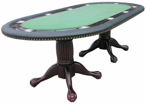 "Image of Berner Billiards 96"" Oval Holdem Poker Table w/ Optional Dining Top in Mahogany"