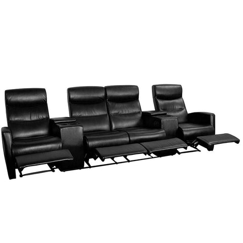 Anetos Series 4-Seat Reclining Black Leather Theater Seating Unit with Cup Holders