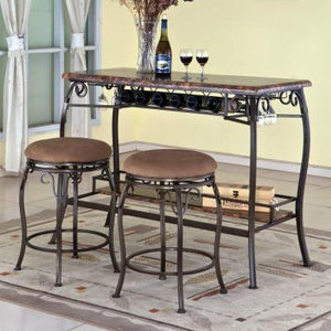 Home Source Faux Marble Top Bar Table & 2 Stools H-45120-CT3