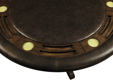 Image of Kaminsky contemporary Brown leatherette round padded game table