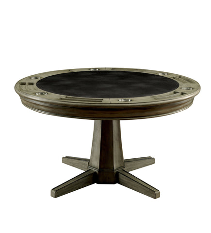 Higley contemporary grey reversible round poker game table