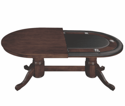 "84"" TEXAS HOLD'EM GAME TABLE WITH DINING TOP- CAPPUCCINO"