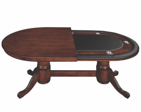 "84"" TEXAS HOLD'EM GAME TABLE WITH DINING TOP- CHESTNUT"