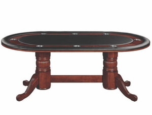 "84"" TEXAS HOLD'EM GAME TABLE WITH DINING TOP- ENGLISH TUDOR"