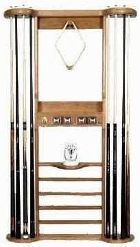 Berner Billiards 8 Cue Wall Rack - Oak