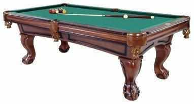 Furniture Pool Table with Ball & Claw Leg in Antique Walnut