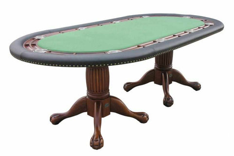 "Image of Berner Billiards 96"" Oval Holdem Poker Table w/ Optional Dining Top in Antique Walnut"