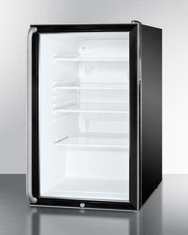 "Summit SCR500BL7SH - 20""W Glass Door All-Refrigerator For Freestanding"