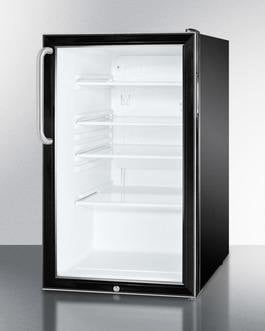 "Image of Summit SCR500BLBI7TBADA Commercial 20"" 4.1 Cu. Ft. Black Frame Glass Door Built-In Beverage Center with Short Curved Towel Bar - ADA Compliant"