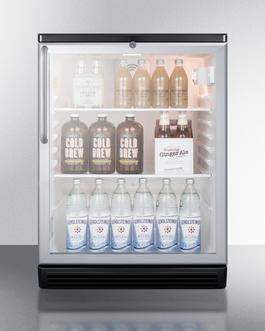 "Summit SCR600BGLBITB 24"" 5.5 cu.ft. Stainless Steel and Glass Door Built-In Compact Refrigerator with Black Cabinet - Right Hinge"