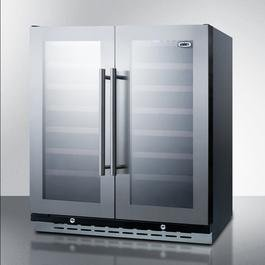 Image of Summit Appliance SWC3066B, 2 Swing Glass Door Wine Cellar Cabinet, Dual Temperature, 12 Shelves