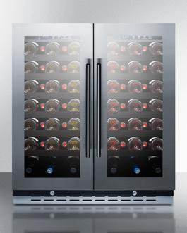 Summit Appliance SWC3066B, 2 Swing Glass Door Wine Cellar Cabinet, Dual Temperature, 12 Shelves