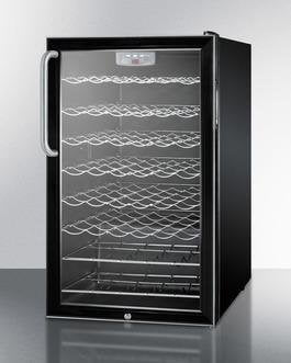 "Image of Summit SWC525LTBADA 20"" 4.5 cu. ft. Black Freestanding Compact Wine Chiller - ADA Compliant"