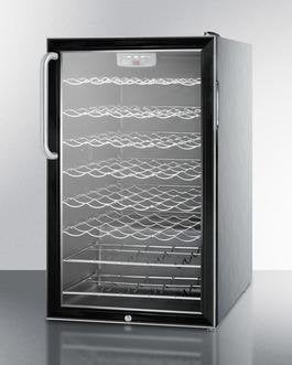 "Summit SWC525LCSSADA 20"" 4.5 cu. ft. Black Freestanding Compact Wine Chiller with Stainless Steel Cabinet - ADA Compliant"