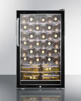 "Image of Summit SWC525LCSSADA 20"" 4.5 cu. ft. Black Freestanding Compact Wine Chiller with Stainless Steel Cabinet - ADA Compliant"