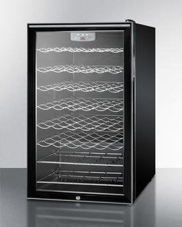 "Summit SWC525L7HHADA 20"" 4.5 cu. ft. Black Freestanding Compact Wine Chiller - ADA Compliant"