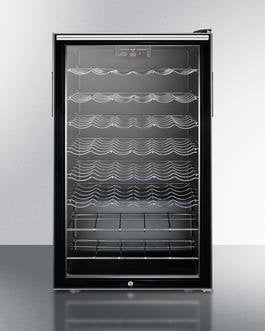 "Image of Summit SWC525LHHADA 20"" 4.5 cu. ft. Black Freestanding Compact Wine Chiller - ADA Compliant"