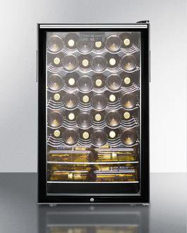 "Summit SWC525LHHADA 20"" 4.5 cu. ft. Black Freestanding Compact Wine Chiller - ADA Compliant"